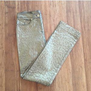 Gold Metallic Skin Jacquard Thora Pant
